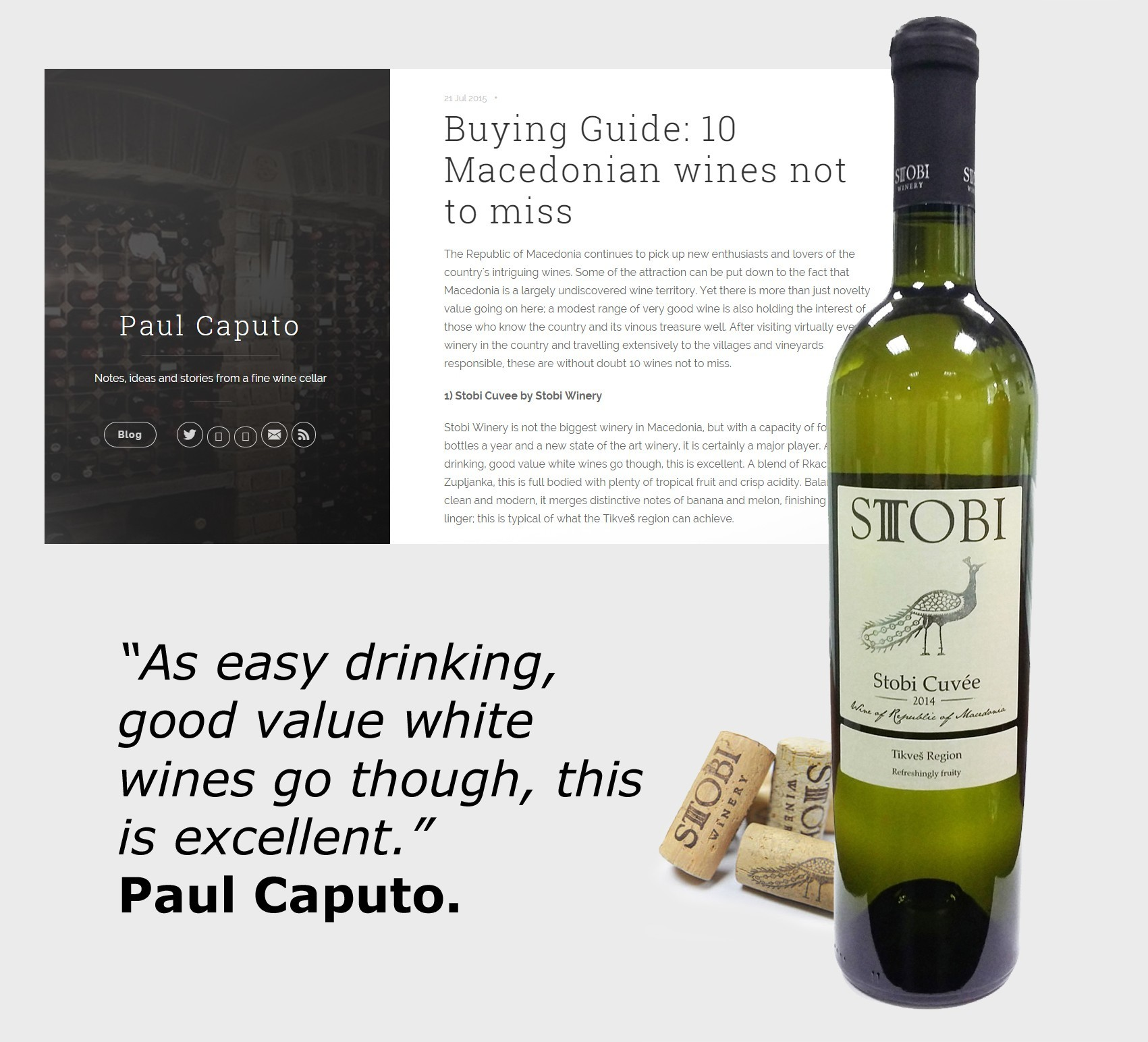 Stobi Cuvée Listed as Top Wine by Paul Caputo