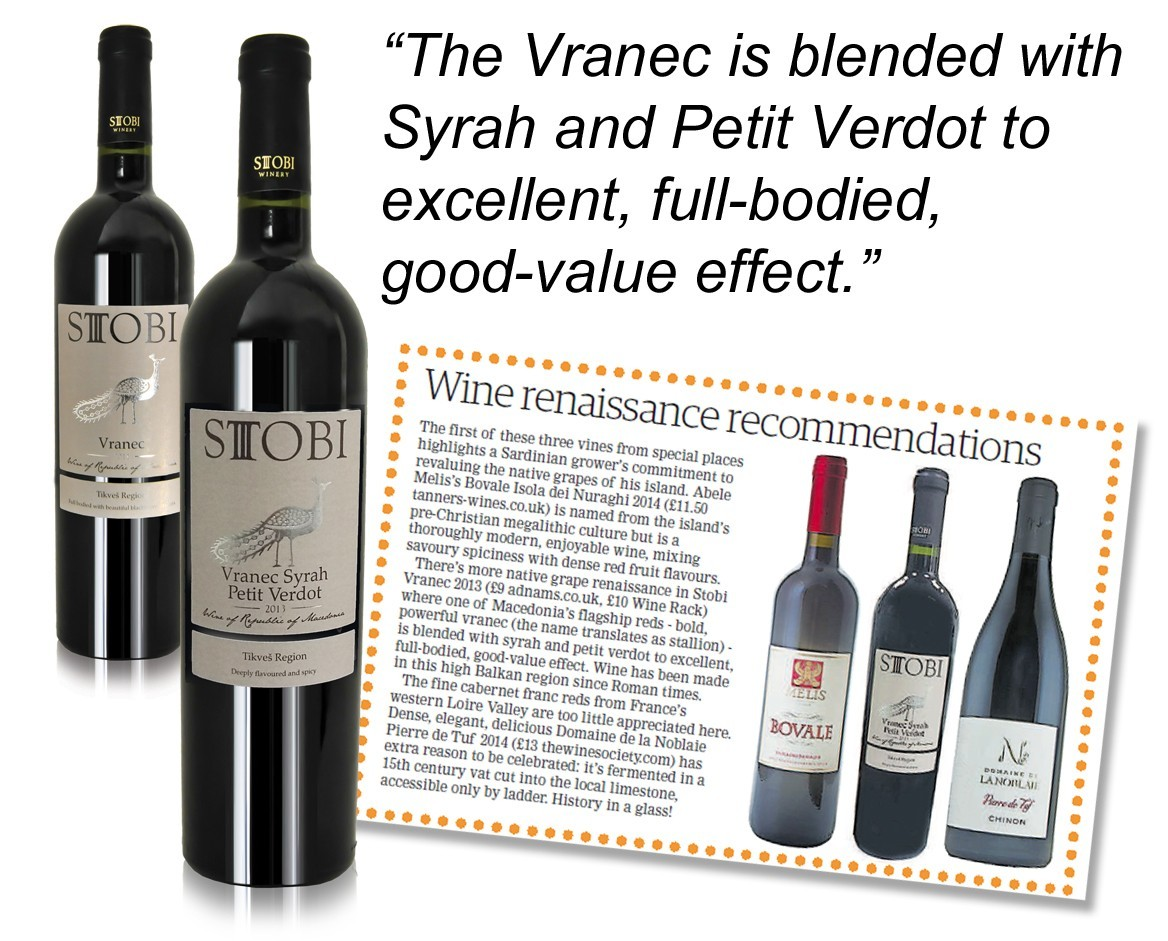 Vranec Syrah Petit Verdot praised in Ham & High Publication